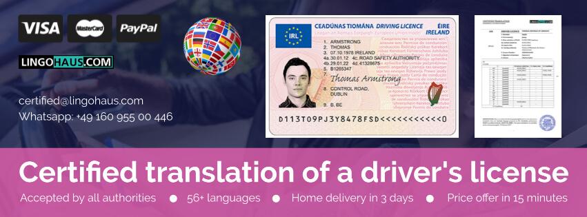 Übersetzung des Führerscheins in Lingohouse